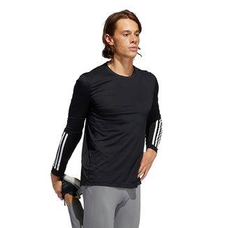 Camiseta Adidas Techfit 3 Listras Manga Longa Masculina