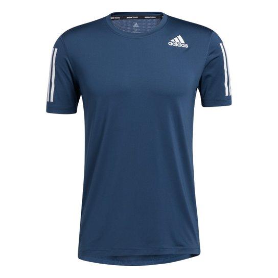 Camiseta Adidas Treino 3 Listras Masculina - Azul