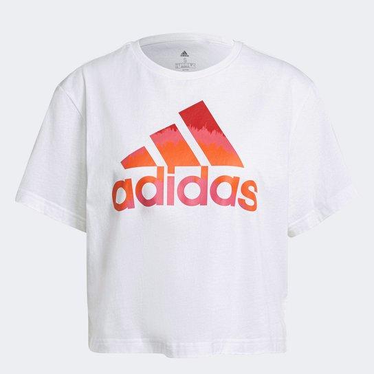 Camiseta Cropped Adidas Farm Rio Tie Die Feminina - Branco+Vermelho