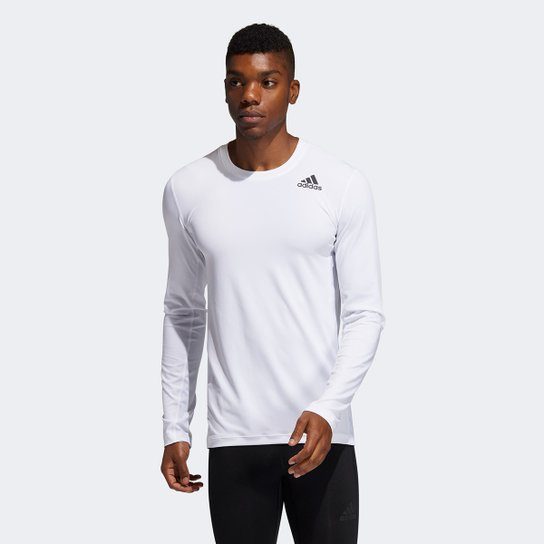 Camiseta de Compressão Adidas Techfit Manga Longa Masculina - Branco