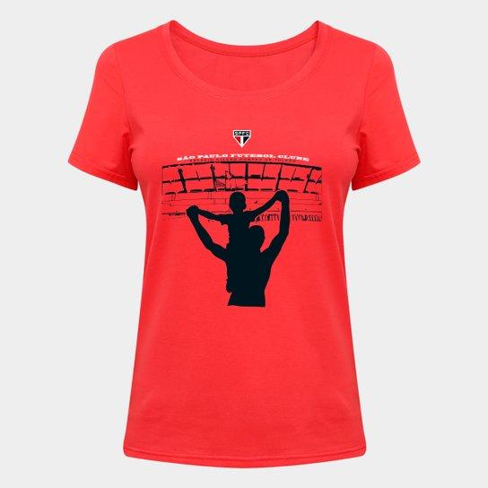 Camiseta Eu Vou Lá No Morumbi Feminina - Vermelho
