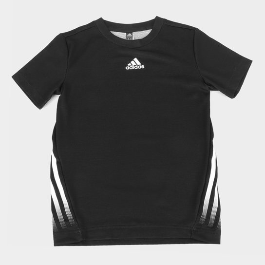 Camiseta Infantil Adidas 3S Aeroready Masculina - Preto+Branco