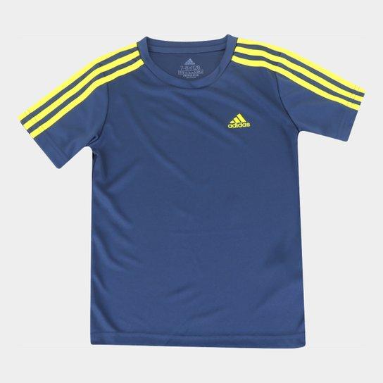 Camiseta Infantil Adidas D2M 3 Stripes Masculina - Azul+amarelo