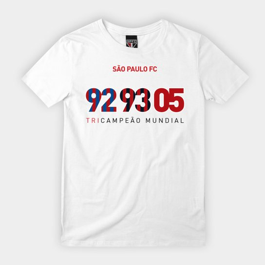 Camiseta Infantil São Paulo Tri Mundial - Branco
