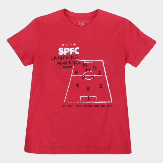Camiseta Juvenil São Paulo Hino Tático Retrô Mania - Vermelho