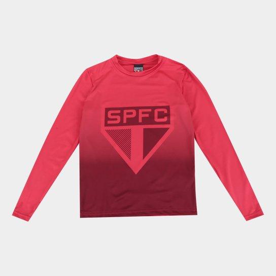 Camiseta Manga Longa Térmica São Paulo Juvenil  - Vermelho