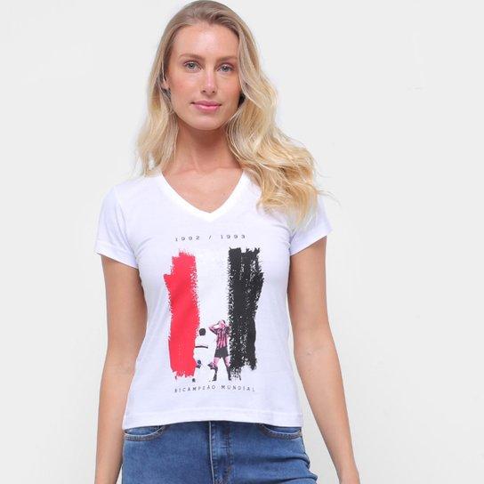 Camiseta São Paulo Bi Mundial Retrô Mania Feminina - Branco