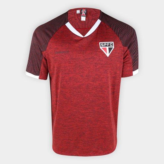 Camiseta São Paulo Gloam Masculina - Vermelho+Cinza
