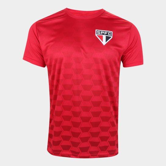 Camiseta São Paulo Hexagonal Masculina - Vermelho