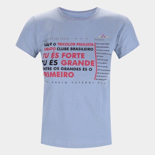 Camiseta São Paulo Hino Retrô Mania Feminina - Cinza