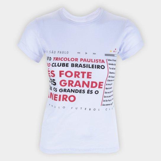 Camiseta São Paulo Hino Retrô Mania Feminina - Branco