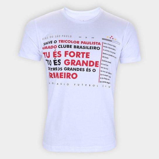 Camiseta São Paulo Hino Retrô Mania Masculina - Branco