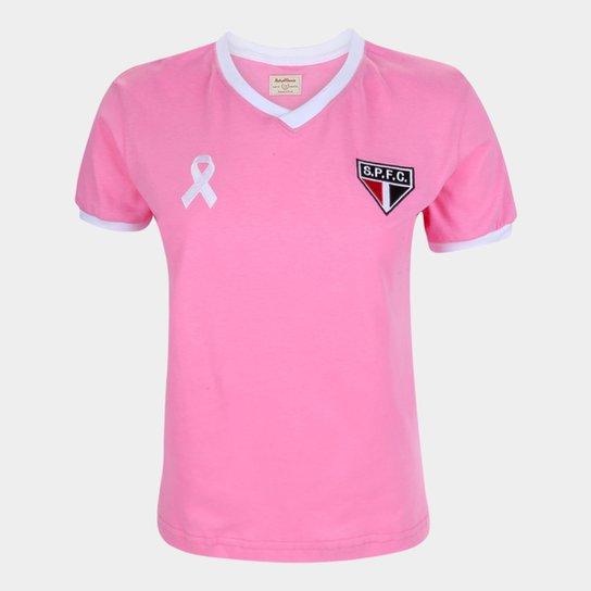 Camiseta São Paulo Juvenil Retrô Mania Outubro Rosa - Rosa
