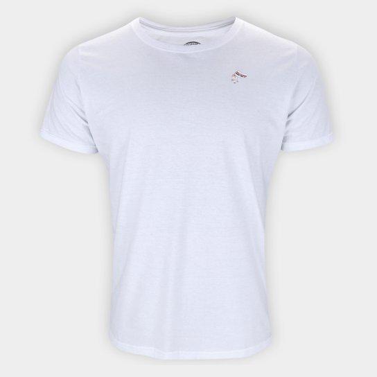 Camiseta São Paulo Logo Mascote Masculina - Branco