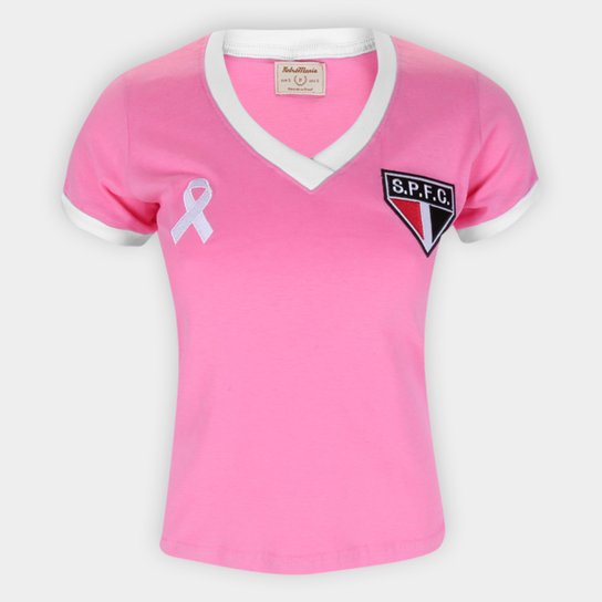 Camiseta São Paulo Outubro Rosa Retrô Mania Feminina - Rosa