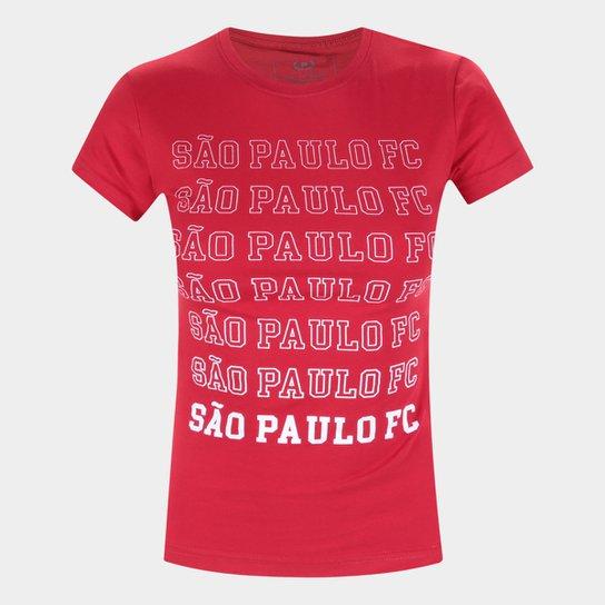 Camiseta São Paulo Repeat Retrô Mania Feminina - Vermelho
