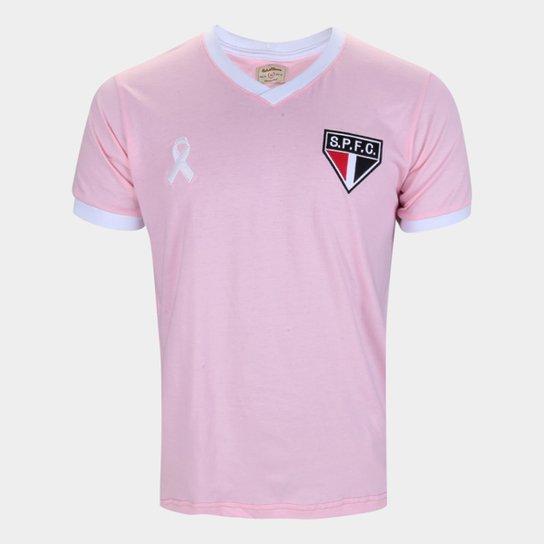 Camiseta São Paulo Retrô Mania Outubro Rosa Masculina - Rosa