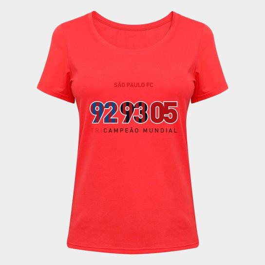 Camiseta São Paulo Tri Mundial Feminina - Vermelho