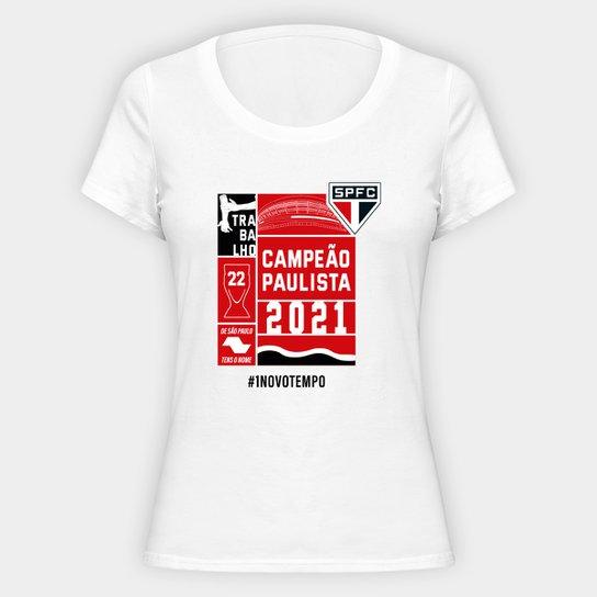 Camiseta SPFC Campeão Paulista 2021  Feminina - Branco