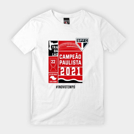 Camiseta SPFC Campeão Paulista 2021 Infantil - Branco