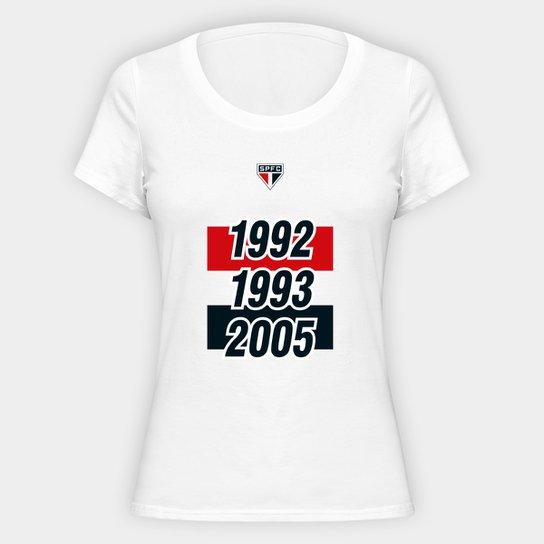 Camiseta SPFC Tri 92 93 05 Feminina - Branco