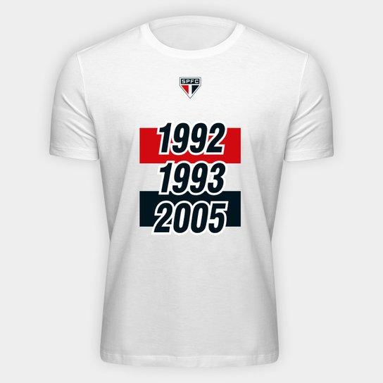 Camiseta SPFC Tri 92 93 05 Masculina - Branco