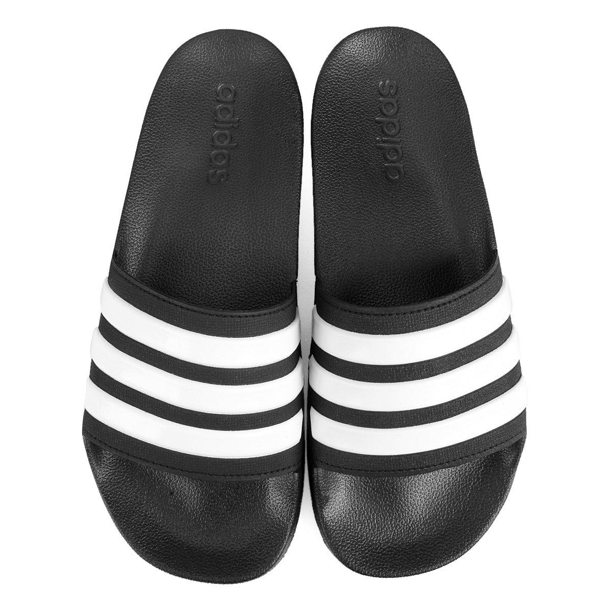 Chinelo Slide Adidas Adilette Cloudfoam Masculino - Preto e Branco ... ed365114acc77