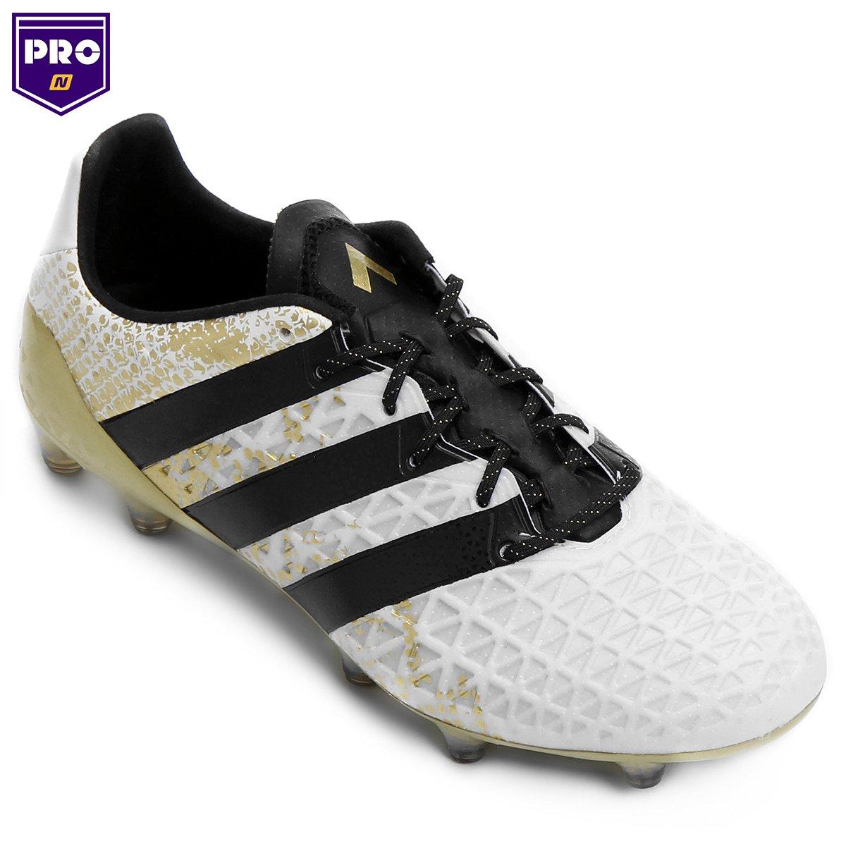 Chuteira Campo Adidas Ace 16.1 FG - Branco e Preto - Compre Agora ... 8d258b6e2cd18