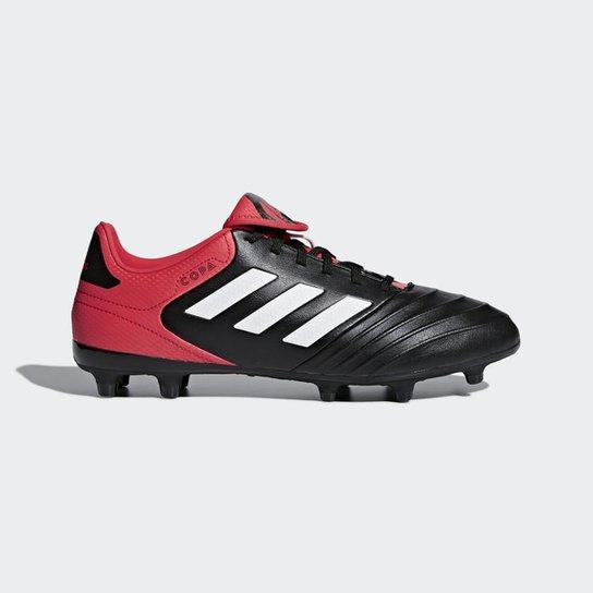 Chuteira Campo Adidas Copa 18.3 FXG - Preto+Vermelho