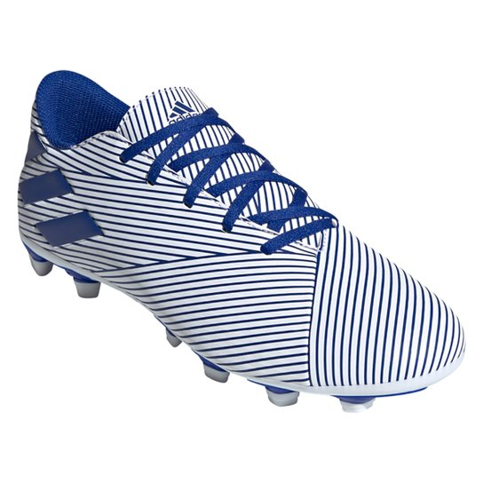 Chuteira Campo Adidas Nemeziz 19 4 FG - Branco+Azul