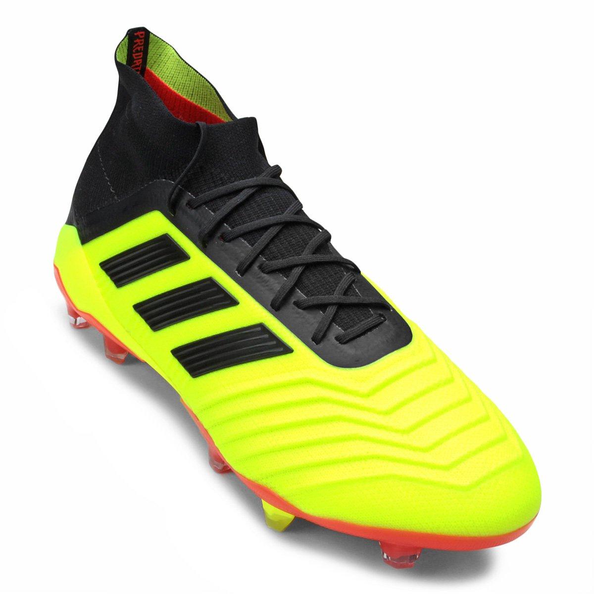 Chuteira Campo Adidas Predator 18 1 FG - Amarelo e Preto - Compre ... 3b030926019ee