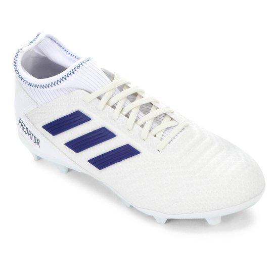 Chuteira Campo Adidas Predator 19 3 FG - Branco+Azul