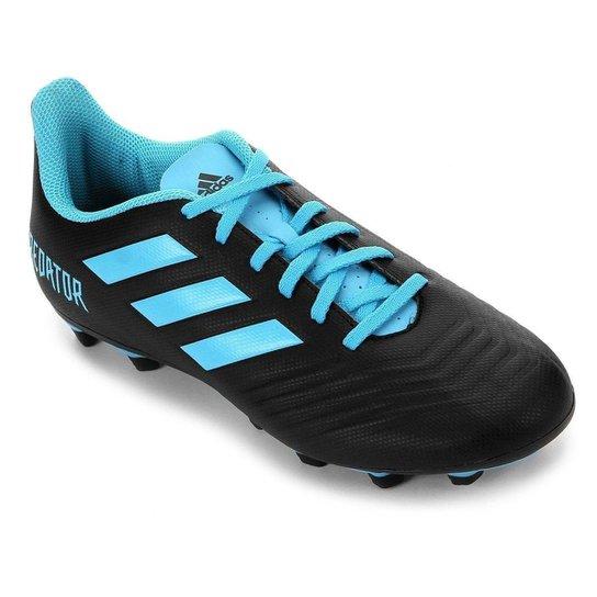 Chuteira Campo Adidas Predator 19 4 FG - Preto+Azul
