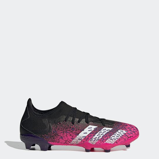 Chuteira Campo Adidas Predator Freak Low  3 - Preto+Pink