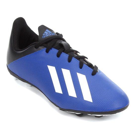 Chuteira Campo Juvenil Adidas X 19 4 FG - Azul+Branco