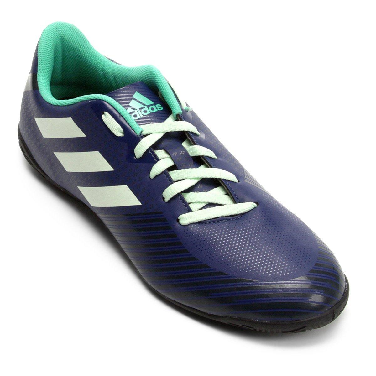 Chuteira Futsal Adidas Artilheira 18 IN - Azul e Verde - Compre ... e86bf30763441