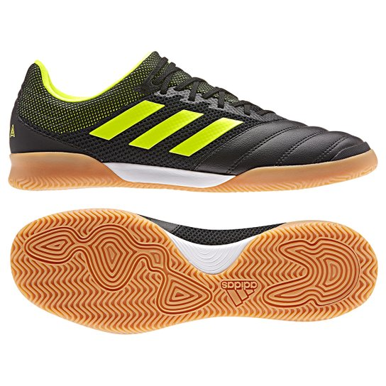 Chuteira Futsal Adidas Copa 19 3 IN - Preto+Verde Limão