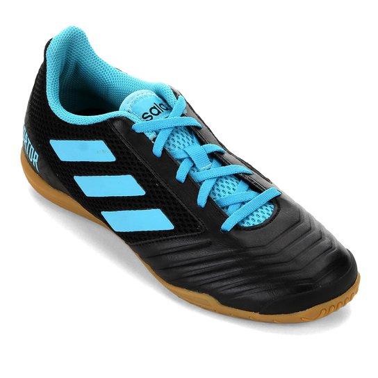 Chuteira Futsal Adidas Predator 19 4 IN - Preto+Azul