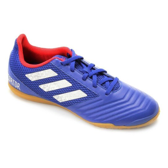 Chuteira Futsal Adidas Predator 19 4 IN - Azul+Prata