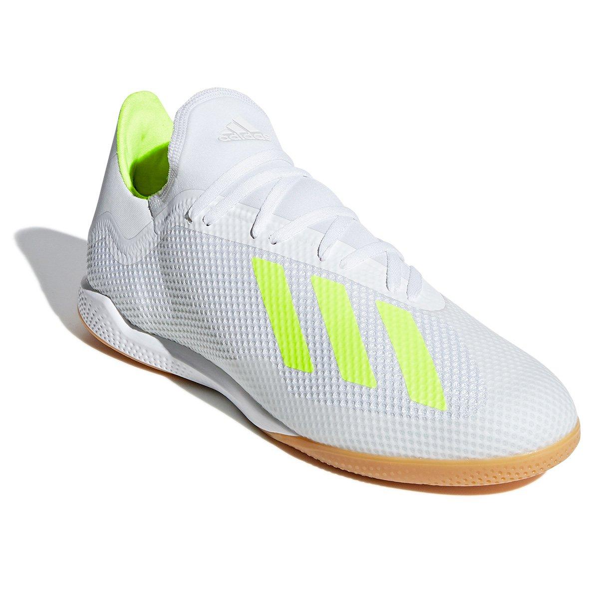 0642142a73a6c Chuteira Futsal Adidas X 18 3 IN - Branco e Amarelo | São Paulo Mania