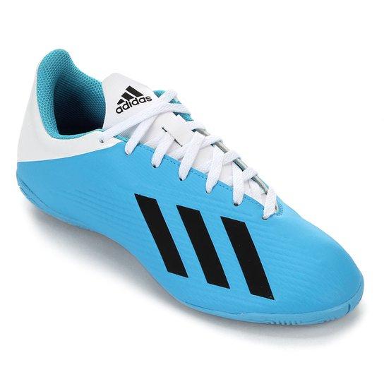 Chuteira Futsal Adidas X 19 4 IN - Azul+Branco