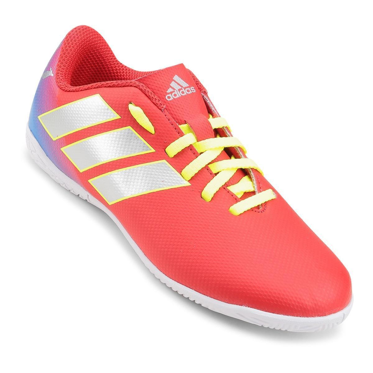 2981439202 Chuteira Futsal Infantil Adidas Nemeziz Messi 18 4 IN - Vermelho e Azul