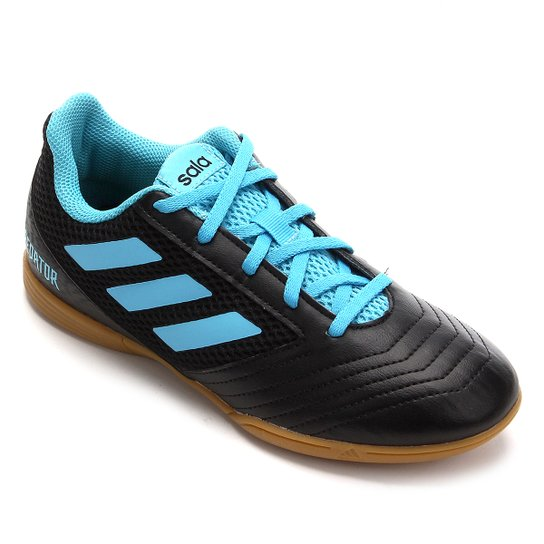 Chuteira Futsal Infantil Adidas Predator 19 4 IN - Preto+Azul