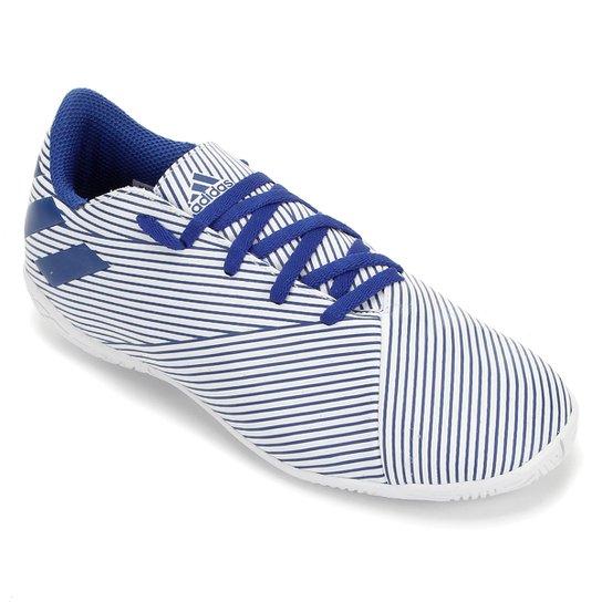 Chuteira Futsal Juvenil Adidas Nemeziz 19 4 IN - Branco+Azul