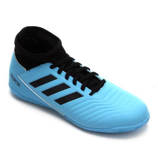 Chuteira Futsal Juvenil Adidas Predator 19 3 IN - Azul+Preto