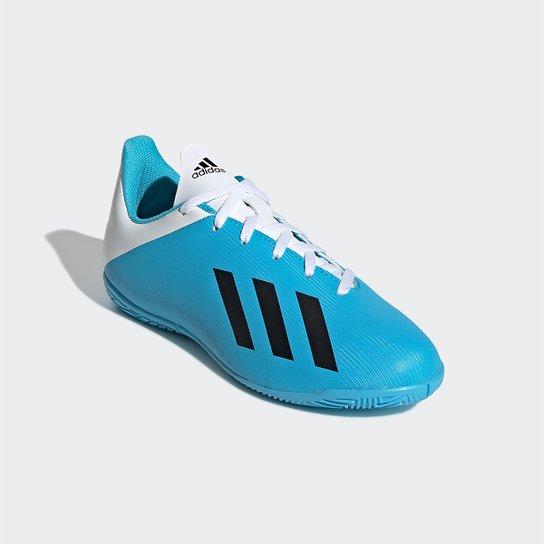 Chuteira Futsal Juvenil Adidas X 19 4 IN - Azul+Branco