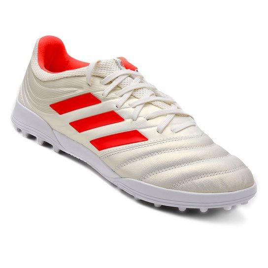 Chuteira Society Adidas Copa 19 3 TF - Branco+Vermelho