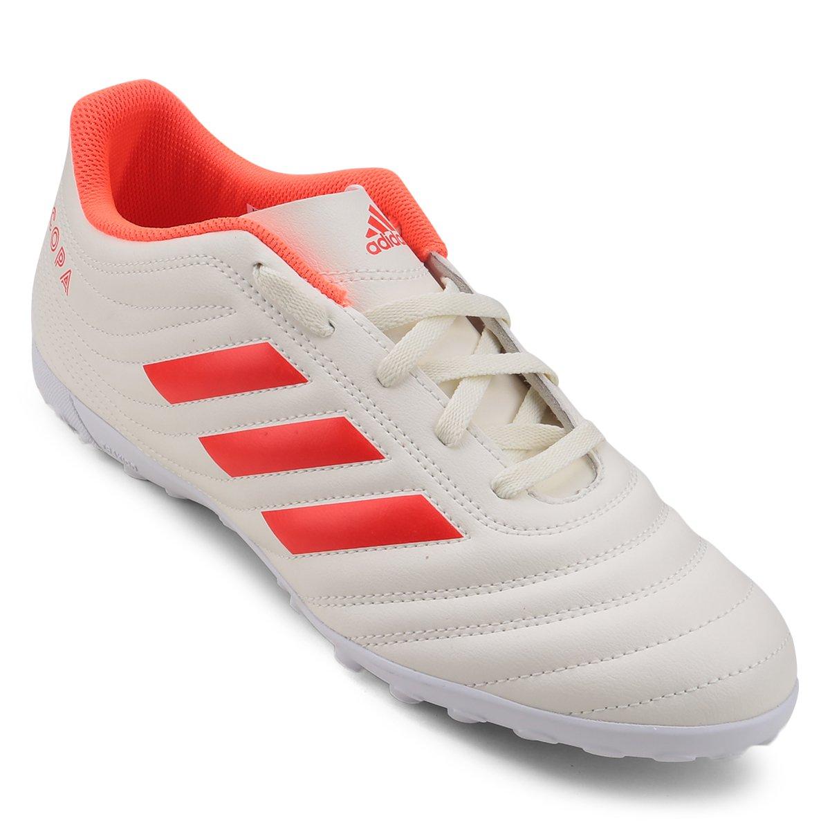 Chuteira Society Adidas Copa 19 4 TF - Branco e Vermelho - Compre ... 15c374692d261