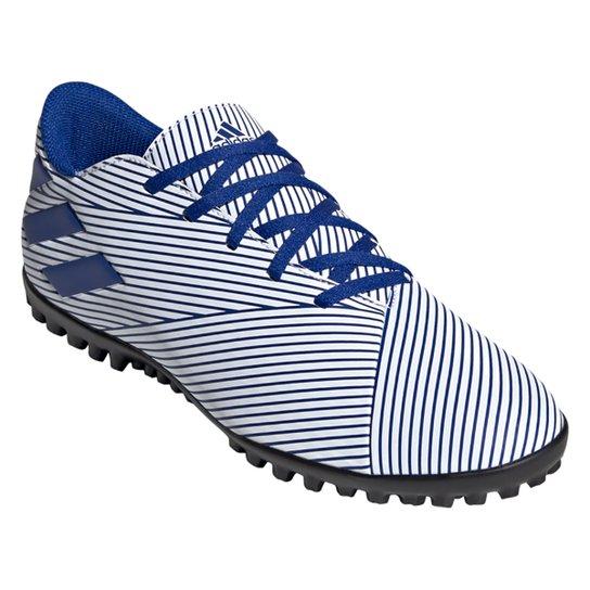 Chuteira Society Adidas Nemeziz 19 4 TF - Branco+Azul
