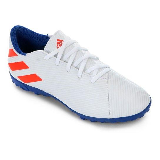 Chuteira Society Adidas Nemeziz Messi 19 4 TF - Azul Royal+Branco
